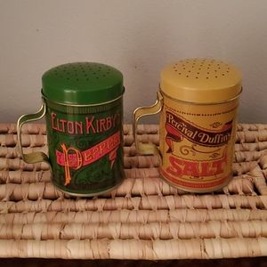 Vintage Metal Salt and Pepper Shakers Set